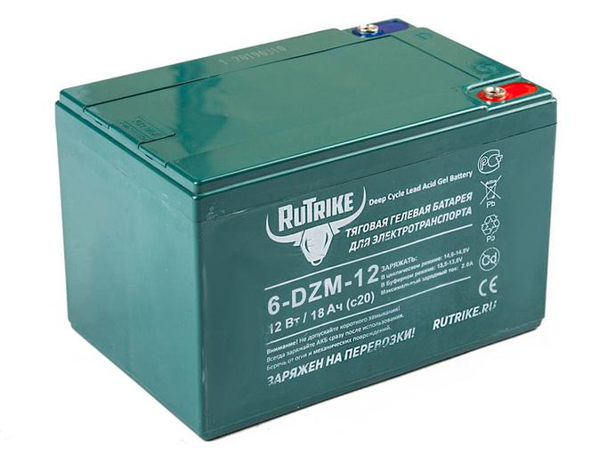 Свинцово-кислотный тяговый гелевый аккумулятор RuTrike 6-DZF-12 (12V12A/H C2)