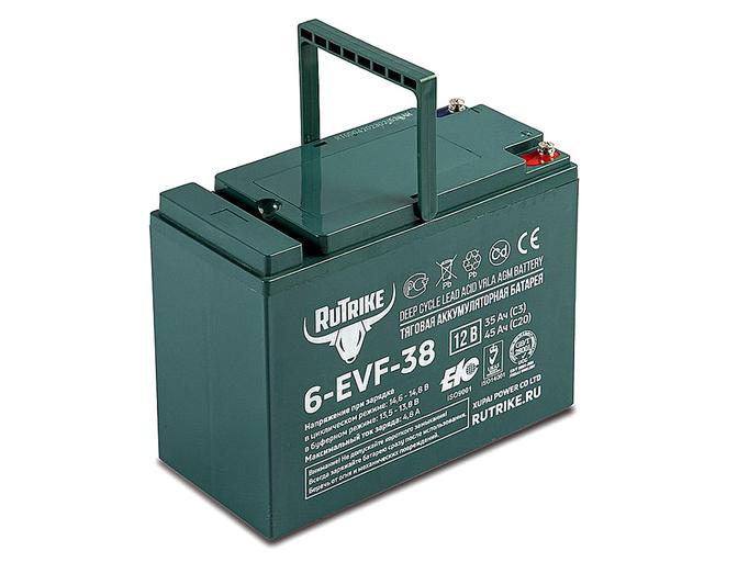 Свинцово-кислотный тяговый гелевый аккумулятор RuTrike 6-EVF-38 (12V38A/H C3)