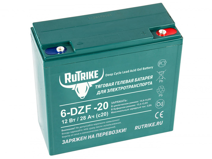 Свинцово-кислотный тяговый гелевый аккумулятор RuTrike 6-DZF-20 (12V20A/H C2)