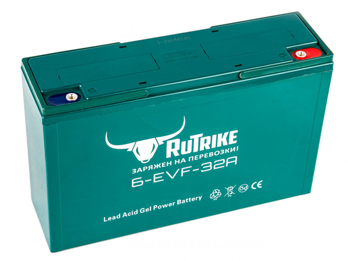 Свинцово-кислотный тяговый гелевый аккумулятор RuTrike 6-EVF-32 (12V32A/H C3)