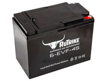 Свинцово-кислотный тяговый гелевый аккумулятор RuTrike 6-EVF-45 (12V45A/H C3) - Фото 0