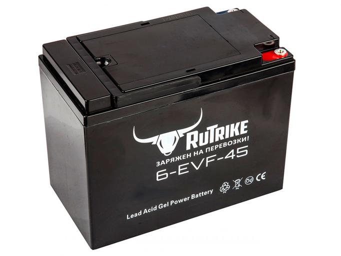 Свинцово-кислотный тяговый гелевый аккумулятор RuTrike 6-EVF-45 (12V45A/H C3)