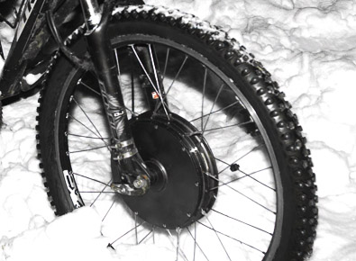 Мотор-колесо зимой